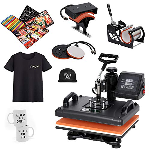 SUPER DEAL PRO 5 in 1 Heat Press Machine 12x15 Multifunction Sublimation Swing Away Heat Transfer T Shirt Press Machine Hat/Mug/Plate/Cap/T-Shirt 110V