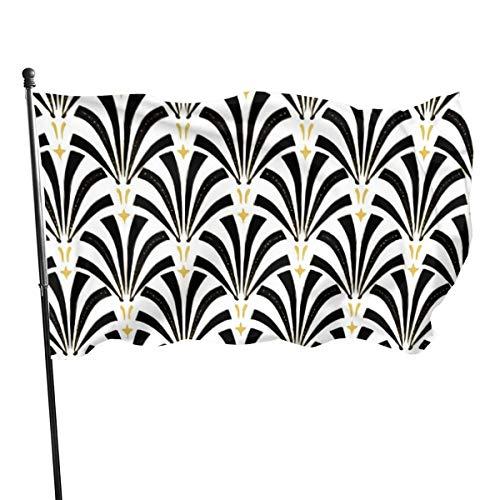 Bandera para jardín, bandera de patri, al aire libre, para jardín o tenis, al aire libre, para pared, jardín, decoración de césped, 3 x 5 pies, vintage Glam Art Deco Palmetto