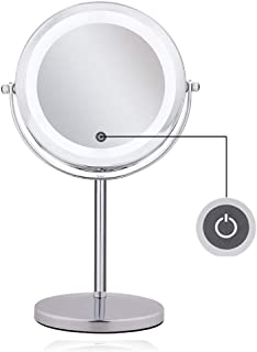 Lighted Magnifying Mirrors - 1x / 10x Magnification Eye Make up Magnifying Mirror With Light - FEITA Touch Screen Adjustable LED Light Polished Chrome 7 inch Makeup Magnify Mirror