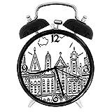 BeeTheOnly Exquisito Reloj Despertador Amsterdam Doodle Monocromo de Antiguas Casas de Pueblo Decoradas en Holanda, Adecuado para Estudio de Dormitorio de Oficina