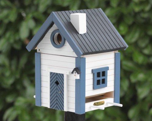Wildlife Garden - Nistkasten und Futterhaus - Multiholk Seeschuppen - wetterbeständiges Holz - blau - weiß - 185 x 194 x 247 mm