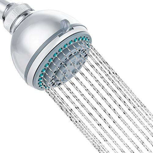 """Multifunction Fixed 4"""" Shower Head with Adjustable Spray Patterns and Water Pressure  Spa-Like Bathing Body Comfort   No Tools Required Installs in Minutes  Teflon Tape Included"""