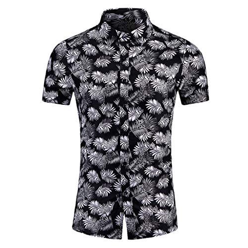 Yowablo Shirt Tops Herren Freizeit Digital Print Stitching T-Shirt Bluse (3XL,8Schwarz)