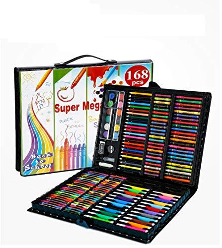 YUEHAPPY® Ensemble D'Artiste 168 Pièces Creativity Art Set Pour Enfants Dessin Et Peinture (Aquarelle, Crayons, Marqueurs De Couleur, Crayons De Couleur),Noir