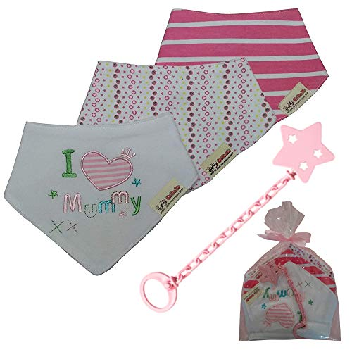 Baberos bandana bebé de algodón suaves y súper absorbentes + 1 broche y cadena para chupete – Especial set de regalo para bebé