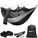 WoneNice Hammock with Mosquito Net, Portable Lightweight Nylon Parachute Multifunctional Hammock with Net and Tree Straps for Camping, Backpacking, Travel, Beach, Yard. (Black/Grey)