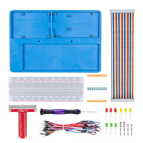 SunFounder Breadboard Kit RAB Holder, 830 Points Solderless Circuit Breadboard, Jumper Wires, LED, Resistors for Arduino R3, Mega 2560 & Raspberry Pi 3 Model B, 2 Model B and 1 Model B+