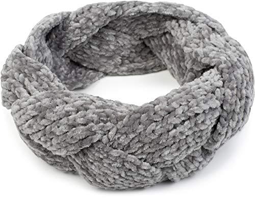 styleBREAKER Damen Chenille Strick Stirnband geflochten, warmes Winter Haarband, Headband 04026032, Farbe:Hellgrau