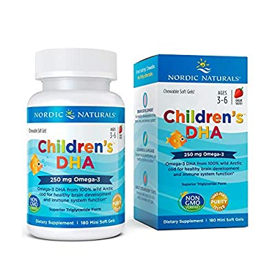 Nordic Naturals Children's DHA Capsules, 250 mg, Strawberry, 180-Count