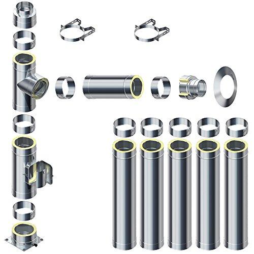 Raab Edelstahl Schornstein 0,5mm DW 150 V4A Set 25 mm Isolierung 6,7 m