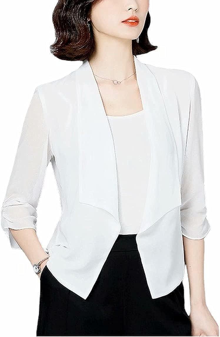 Women's Chiffon Blazer 3/4 Ruched Sleeve Open Front Thin Blazers Casual Shrug Cardigan Coat for Women