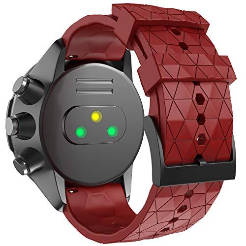 ANBEST Uhrenarmband Kompatibel mit Suunto 9/Suunto 7/Suunto 9 Baro Armband, 24mm Ersatzarmbänder Weiches Silikon für Suunto D5/Suunto Spartan Sport Wrist HR Smart Watch, Rot