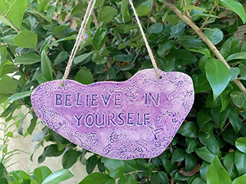 Believe in Yourself Purple Lotus Flower Clay Art Inspirational Pottery Wall Hanging