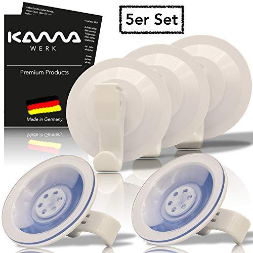KAMAWERK Saugnapf Haken (5er Set) - Handtuchhaken Saugnäpfe, Saugnäpfe für Fenster - Handtuchhalter Saugnapf mit Haken für Küche Bad extra stark