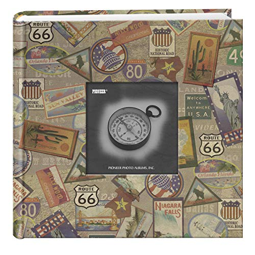 Pioneer Photo Albums DA-200MAP/TS 200-Pocket Photo Album with Printed Travel Design Cover, Travel Stickers