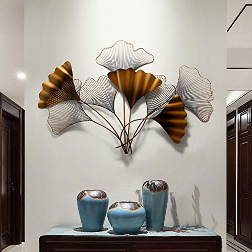 WLHER Ginkgo Biloba Metal Wall Decor, Old Paint Metal Leaf Wall Art Decor Gold Ginkgo Leaves Sculpture Artwork for Creative Modern Home Living Room Sofa Wall Decoration Wall Hanging 117X81cm