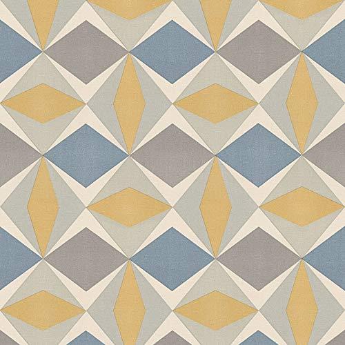 Vliestapete Vintage-Tapete 957662 95766-2 A.S. Création Scandinavian 2 | Blau Gelb Grau | Rolle (10,05 x 0,53 m) = 5,33 m²