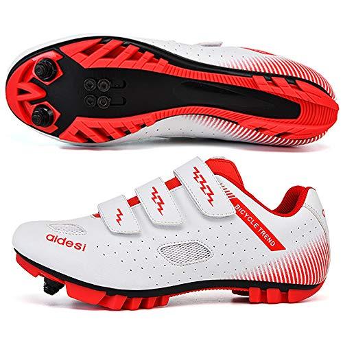 KUXUAN Zapatillas De Ciclismo MTB para Hombre,Zapatillas De Ciclismo De Montaña con Candados Zapatillas Deportivas De Invierno para Hombres Y Mujeres/Suelas De Nailon,White-37EU=(235mm)