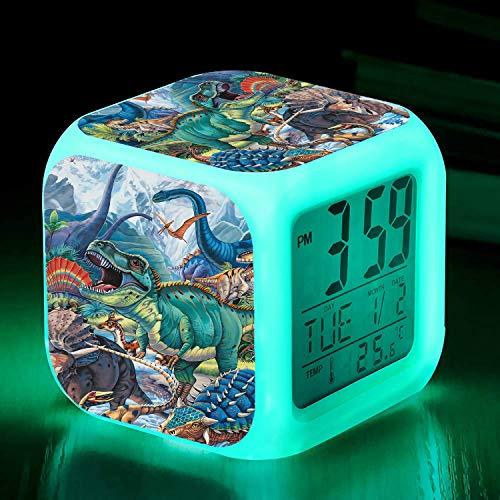 Digitaler Wecker für Jungen und Mädchen, große Anzeige, Uhrzeit / Datum / Wecker mit Schlummerfunktion, Nachttisch-Größe, LED-Nachtlicht-Uhr, tolles Geschenk für Kinder, Dinosaurier