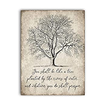 You Shall Be Like a Tree Vintage Wall Art Sign,Antique Wall Decor,Rustic Wooden Sign For Home Decor