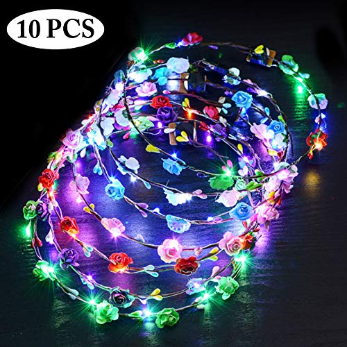 Led Blumenkranz, Outgeek 10PCS 10LED Garland Stirnband Dekorative Leucht 10 LEDs Böhmen Blume Stirnband Kopfbedeckung Floral Crown Tiara Haarschmuck Festival Blumenkranz Stirnband Party Hochzeit Decor