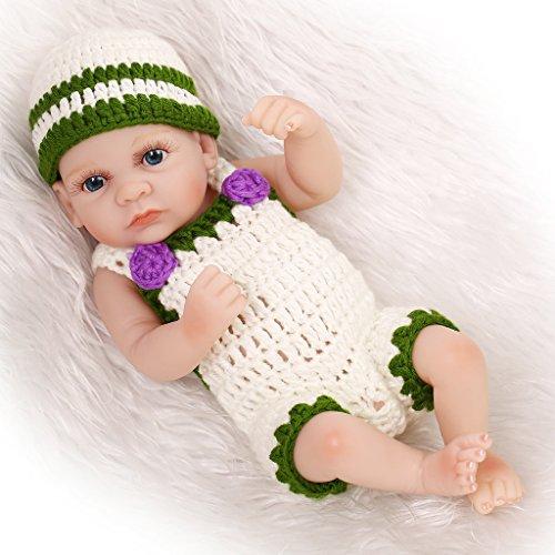 Nicery Reborn Baby Doll Réincarné bébé Poupée Doux Simulation Silicone Vinyle 10 Pouces 26cm Qui Semble Vivant Imperméable Jouet Vif réaliste Âge 3+ Vert Blanc Garçon