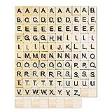 108 letras de madera de la A a la Z, letras de rompecabezas de madera, regalos de manualidades, aprendizaje de alfabetización para niños (incluidas 10 astillas de madera en blanco)
