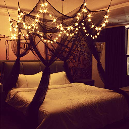 8 Corner Bed Canopy with 100 LED Star String Lights Battery Operated, Bed Netting Unique Style 4 Door Square Canopy Bed Curtains Canopy - Suggested for Twin Full Queen King Bed