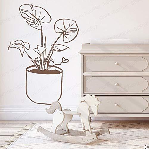 Tianpengyuanshuai muurstickers, handgeschilderd vinyl, bloemenvaas, bloem, muursticker, voor keuken, kinderkamer, natuur