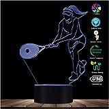Ilusión 3D Luz de noche Navidad Jugador de tenis femenino LED Ilusión óptica Luz de noche Tenis Deportes Arte Colores Cambiar lámpara de mesa Regalo para amantes del tenis Regalo de fiesta de atleta