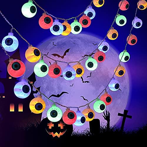 YUEBAOBEI Luces Cadena Globo Ocular Halloween, Luces Decoración Halloween, Luces Halloween con 8 Modos, Bateria Cargada, Decoración De Fiesta para Halloween,Color,3m 20 Lights