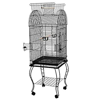 YJIIJY Volière Cage à Oiseaux Grande Volière Cage Oiseaux, Lanterneau Ouvert, 59×59×150cm, Noir