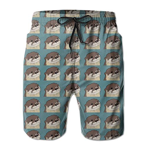 YongColer Men's Otter Pattern Short Swim Trunks Best Board Shorts for Sports Running Swimming Beach Surfing Quick Dry Breathable Bathing Suits Beach Holiday Party Swim Shorts