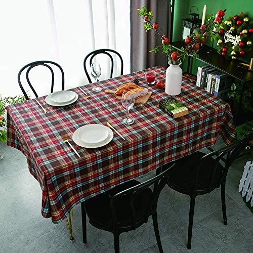 mxjxj Weihnachten rechteckige Tischdecke Vintage Karierte Tischdecke Baumwolltisch-Tuch-Feiertagsdekoration-Tischabdeckung, Verschiedene Größen (Color : Red, Size : 140+#215;160cm)
