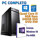 PC Computer Desktop fisso, nuovo con Windows 10 Pro Intel Quad Core i5-2400 3.10GHz RAM 8GB SSD...