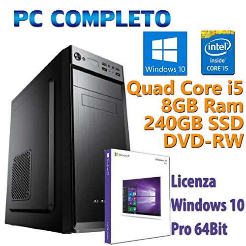 PC Computer Desktop fisso, nuovo con Windows 10 Pro Intel Quad Core i5-2400 3.10GHz RAM 8GB SSD 240GB DVD-RW Ideale per ufficio Internet Casa Lavoro A