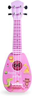 YOLOPLUS+ Kids Ukulele Guitar Toy Simulation 4 Strings Children Musical Instruments Educational Learning for Toddler Beginner Keep Tone Anti-Impact (17 Inch Pink)