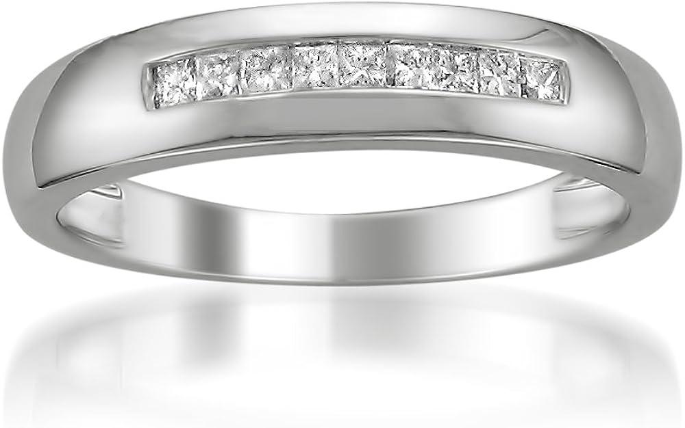 Platinum Princess-cut Diamond Men's Wedding Band Ring (1/4 cttw, H-I, SI2-I1)