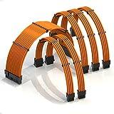 LINKUP - Cable con Manguito - Prolongación de Cable para Fuente de Alimentación con Kit de Alineadores - Compatible con RTX3090┃1x 24P (20+4) MB┃2X 8P (4+4) CPU┃3X 8P (6+2) GPU┃30CM 300MM - Naranja
