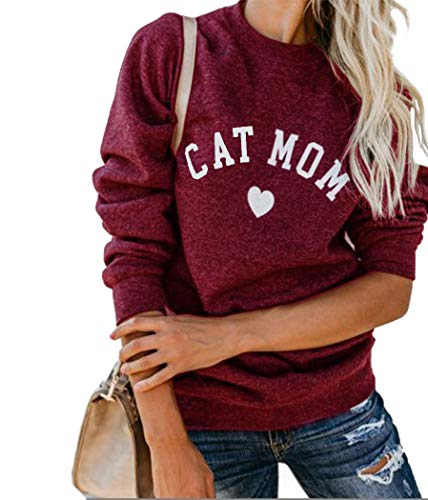 Heymiss Crewneck Sweatshirt for Womens Tops Cat Mom Shirt Long Sleeve O Neck Letter Print Tee Pullover Wine Red L