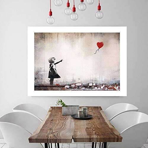 LWJZQT Cuadro sobre Lienzo Niña con Globos Rojos Banksy Decoración De Arte De Pared Pintura De Lienzo Caligrafía Impresión De Póster Imagen Decorativa Sala De Estar Decoración del Hogar 60×80cm