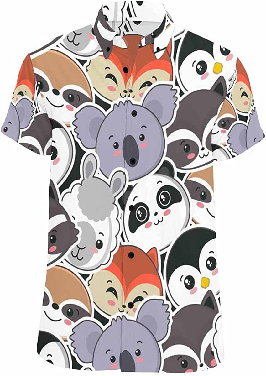 InterestPrint Cute Alphabet Men's Short Sleeve Looser Fit Casual Button Down Beach Shirt