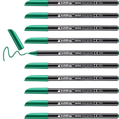 Edding 1200 rotulador de color de trazo fino - verde neón - 10 rotuladores - punta redonda de 1 mm - marcador dibujar y escribir