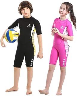 بدلة سباحة قصيرة للاطفال 2.5 ملم للاولاد والبنات لكامل الجسم من مادة النيوبرين الحرارية، بدلة مبللة بسحاب خلفي للغطس بالسك...