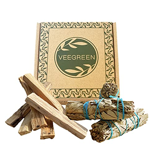 Caja de salvia blanca purificación americana y palos Palo Santo - Incienso natural para quemar antiestrés, meditación y madera de rituales, purificador de aire para casa - Olor bien protector.