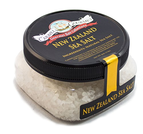 New Zealand Coarse Sea Salt - Solar-Evaporated South Pacific Sea Salt - High in Trace Minerals - for Cooking or Finishing - No Gluten, No MSG, Non-GMO - 4 oz. Stackable Jar