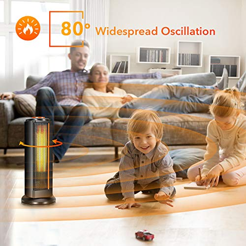 Space Heater for Office - Electric Ceramic Portable Oscillating Space Tower Heater Fan w/ Thermostat, Fast Heating Overheat & Tip-over Protection Ideal for Personal Home Bedroom Bathroom Indoor Use