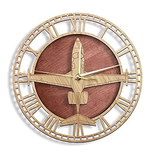 Reloj de Pared Eclipse 500/550 Modelo de avión Reloj de Pared Reloj de Madera Tallado Natural Reloj de Pared de avión de Combate clásico Pilotos Militares Decoración del hogar