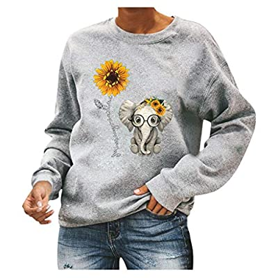 Moholl Pullover Sweatshirt for Women, Girls Cute Elepant Printed Long Sleeve Crew Neck Jogger Tops Fall Clothes