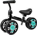 Bicicleta de equilibrio para niños de 10 a 24 meses, sin pedal de pie para bebé, 4 ruedas, regalo de primer cumpleaños (color negro)